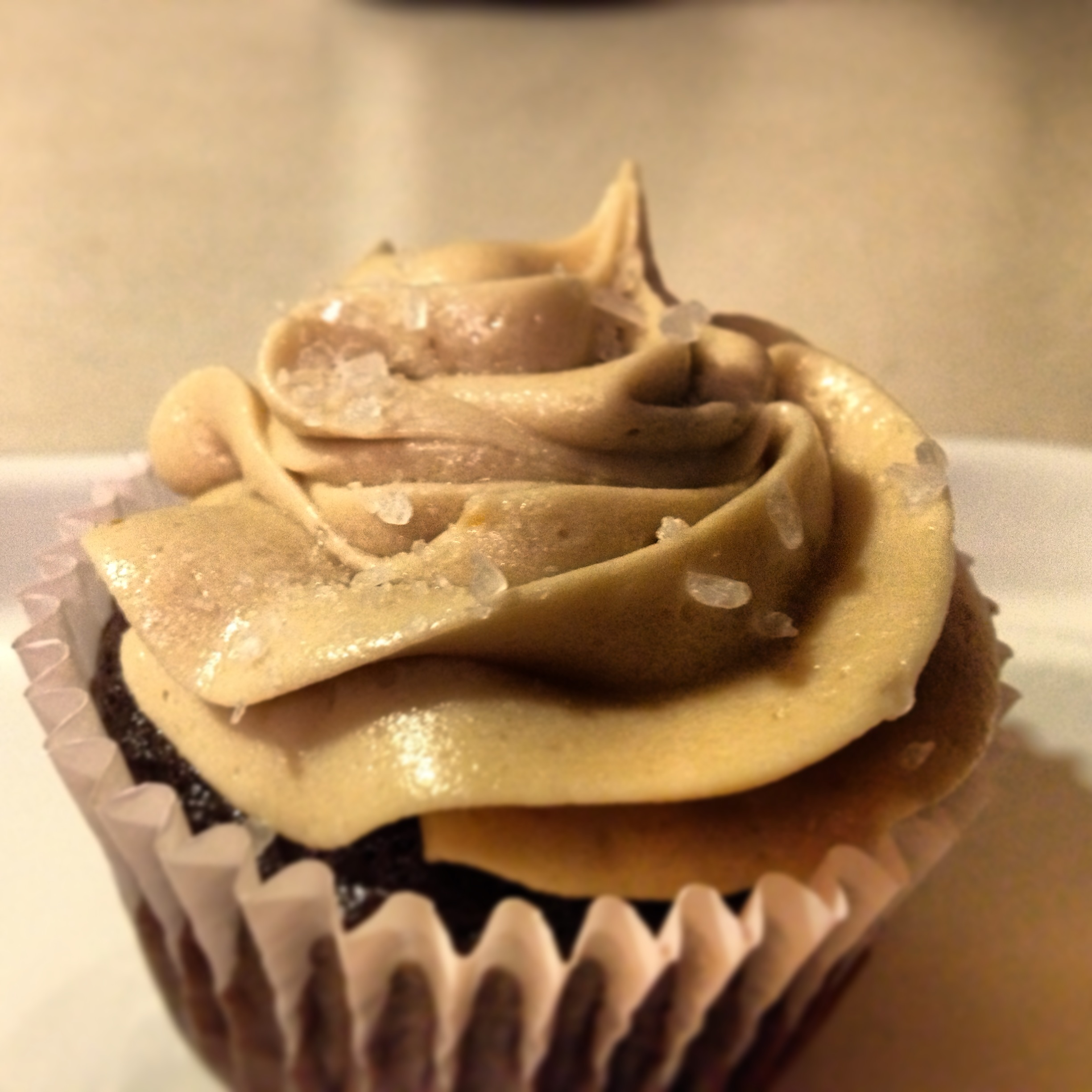 photo of a chocolate salted caramel cupcake from cocos confections