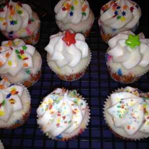 photo of some confetti cupcakes from cocos confections