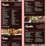 photo of the inside of cocos confections menu