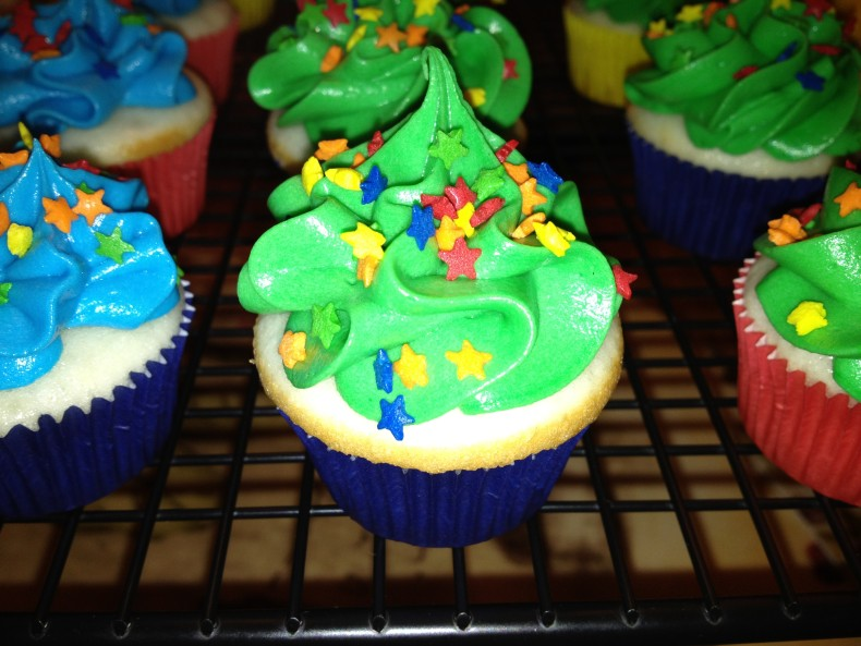 close up photo of a green cocos confections cupcake