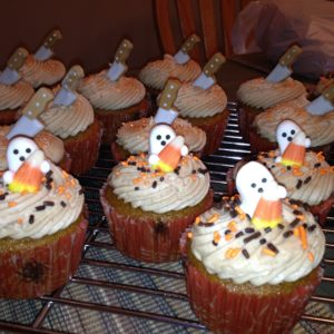 photo of some ghost halloween themed cupcakes from cocos confections