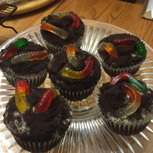 photo of some dirt worm themed cupcakes from cocos confections