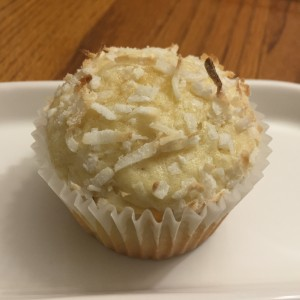 photo on one coconut muffin from cocos confections