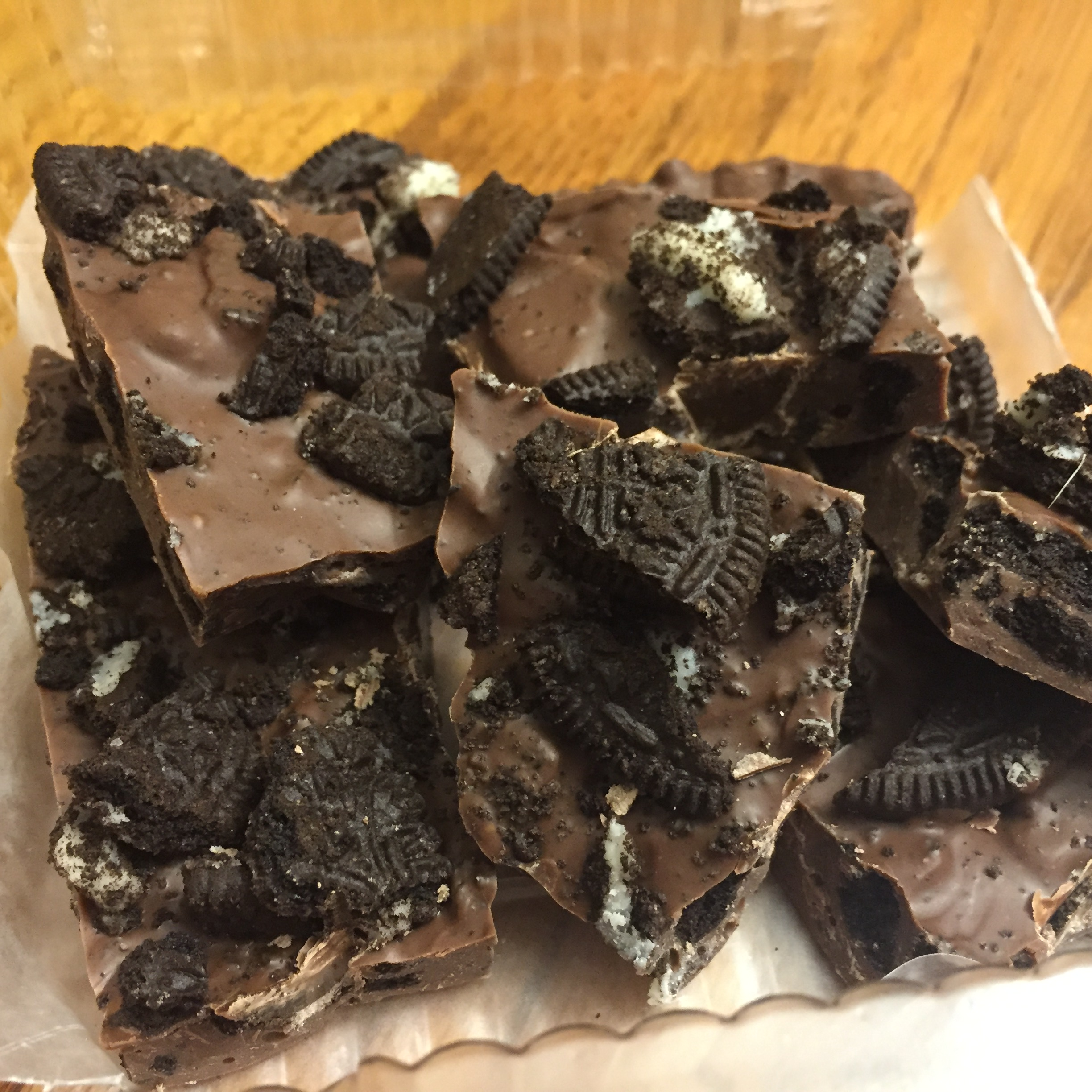 photo of some chocolate cookies and cream bark from cocos confections