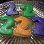 photo of iced cutout cookies of the number 2 from cocos confections